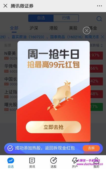 腾讯微证券周一抢牛日抽红包,目前必中,亲测0.38元。